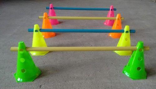 Kit Treinamento 3 Níveis 8 Cones 24cm + 4 Tubos 80cm Futebol