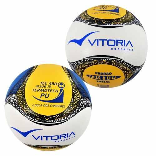 kit 2 Bolas Futsal Vitória Oficial Termotec Pu 6 Gomos Sub 15