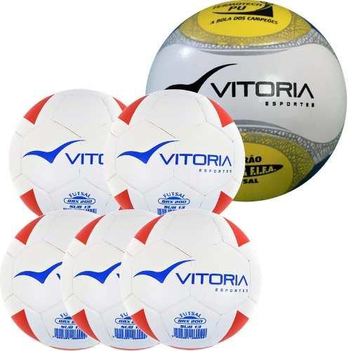 Kit 5 Bolas Sub 13 Max 200 + 1 Bola Futsal Oficial 500  - Vitoria Esportes