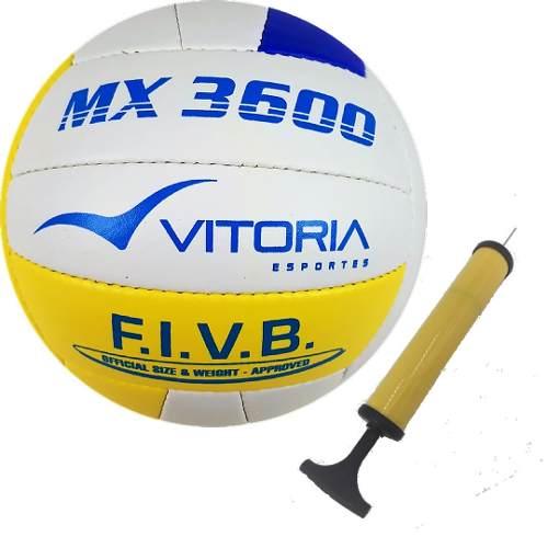 Bola Vôlei Oficial Vitoria Mx 3600 Pu Soft + Bomba De Ar