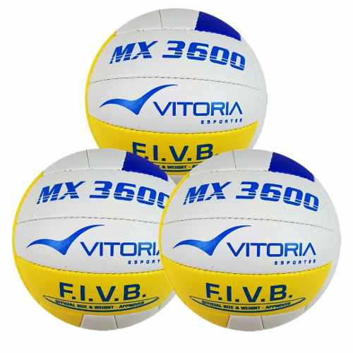 Bola Volei Oficial Vitoria Mx 3600 Pu Soft Leve 3 Unidades  - Vitoria Esportes