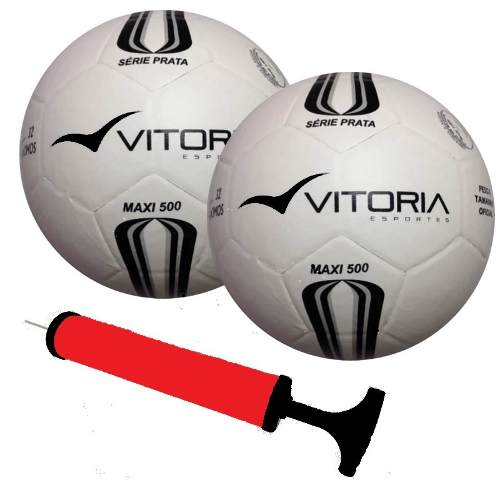 2 Bolas Futsal Vitoria Prata Max Top 500 + Bomba  - Vitoria Esportes