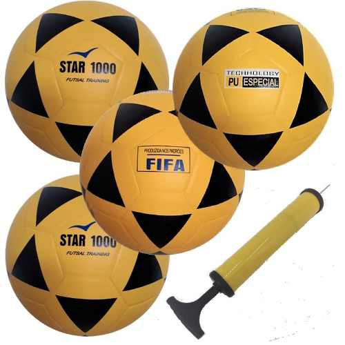 4 Bolas Futsal Vitoria Oficial Adulto Star 1000 + Bomba Ar