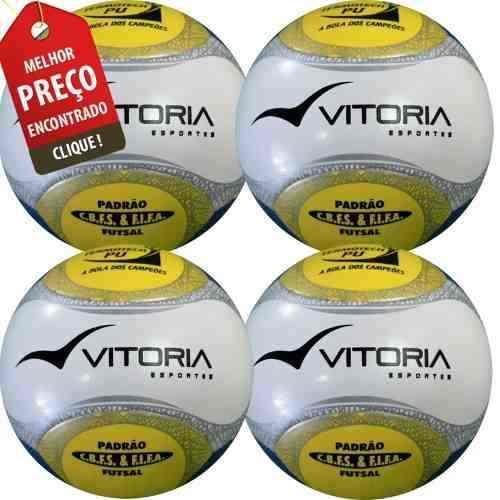 Bola Futsal Vitória Oficial Termotech Pu Kit Com 4 Unidades  - Vitoria Esportes