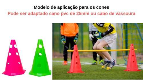 Kit 4 Cones Plástico 50 Cm Treinamento Funcional Furado