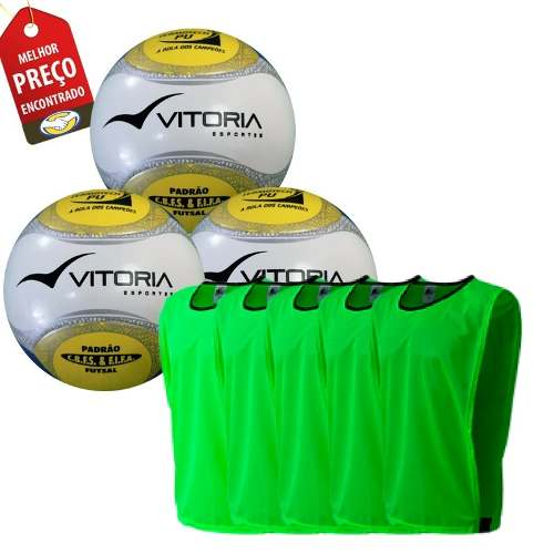Bola Futsal Vitoria Oficial Kit Com 3 Unidades + 10 Coletes