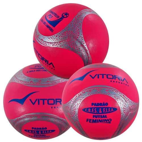 Kit 3 Bolas Futsal Vitoria Oficial Termotec Feminina