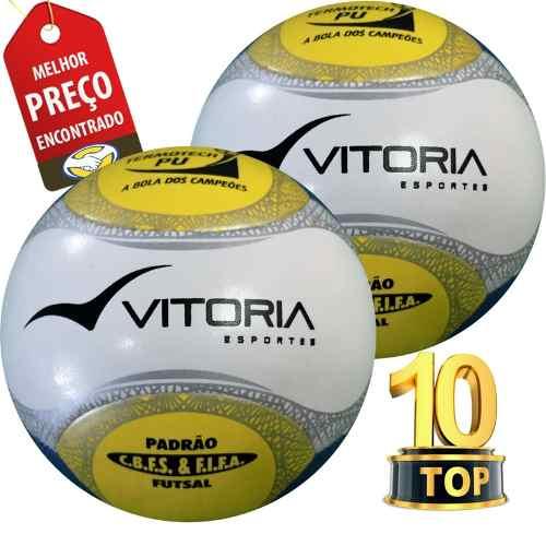Bola Futsal Vitória Oficial Termotech Pu 6 Gomos 2 Unidades