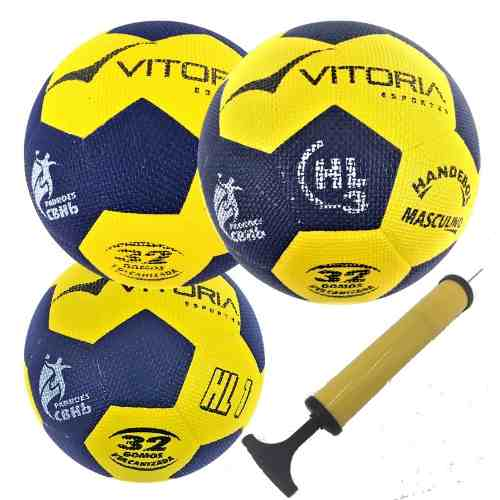 Kit 3 Bolas Handebol Oficial Gripp Pu H3l, H2l, H1l + Bomba  - Vitoria Esportes