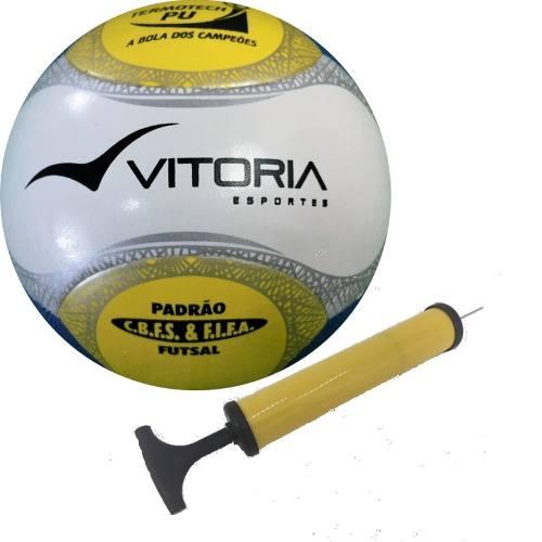 Bola Futsal Vitória Oficial Termotec Pu + Bomba De Ar