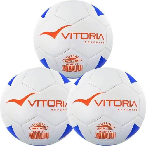 Kit 3 Bolas Futsal Vitoria Brx Max 100 Sub 11 (9 A 11 Anos)