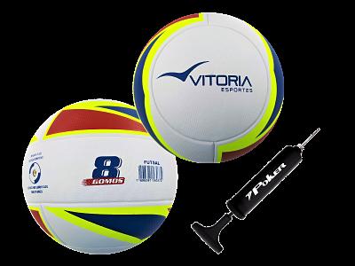 kit 2 Bolas Futsal Vitória Oficial Termofusion MX 1000 Pu + Bomba  - Vitoria Esportes