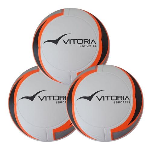 Kit 3 Bolas Futebol Campo Oficial Termofusion Vitoria 1000  - Vitoria Esportes