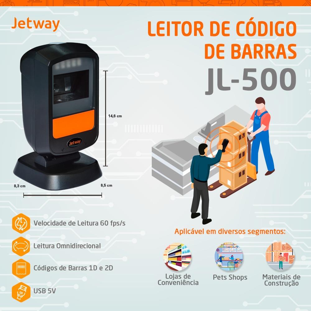 Leitor de Código de Barras Jetway JL-500, 1D, 2D e QR Code