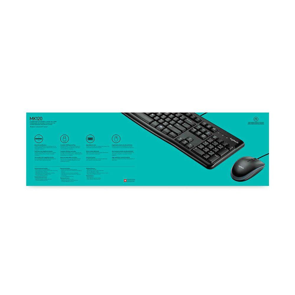 Teclado e Mouse Logitech USB MK120