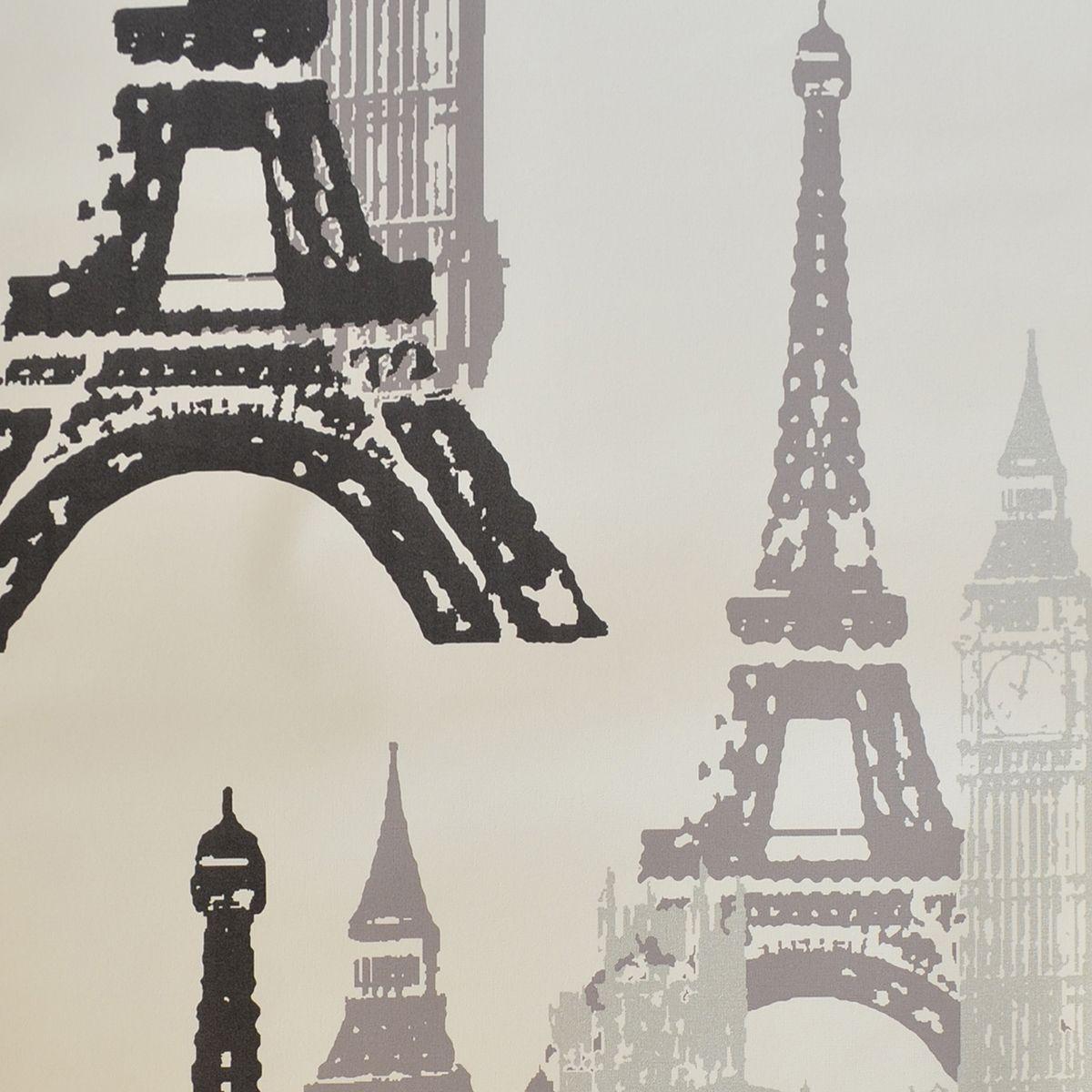 Papel De Parede De Pvc 0 53 X 10m Desenho Paris Preto E Cinza