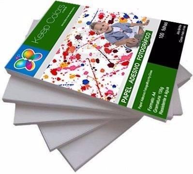 Papel Fotográfico Adesivo 135g - Prova Dágua - 100 Folhas A4