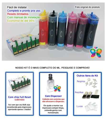 Bulk Ink Epson T50 T700w Tx720wd+ Kit Tinta Extra + Brinde