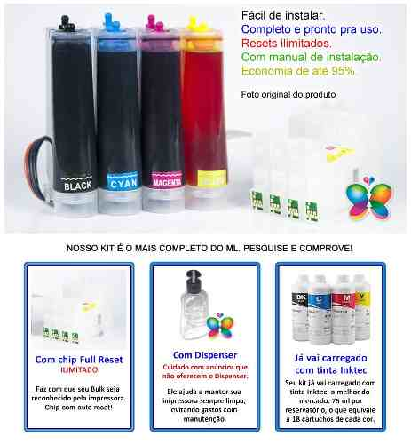 Bulk Ink Para Epson C67 C87 Cx4700 + Kit Tinta Extra + Brinde