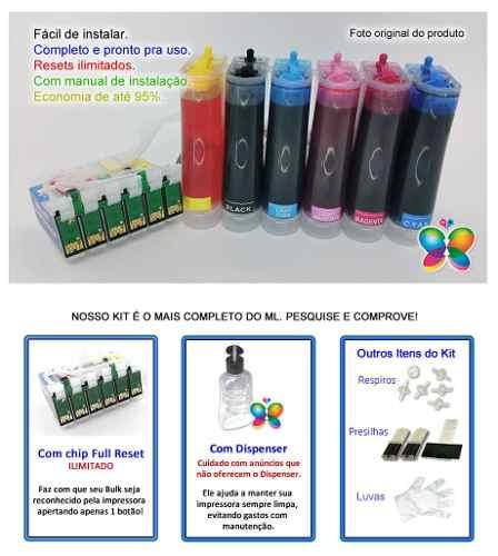 Bulk Ink Para Epson T50 T700w Tx720wd + 6 Frascos De Tinta