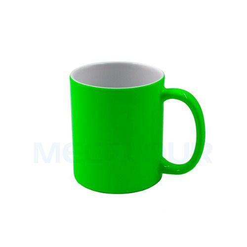 10 Canecas Neon Verde Clara Resinada P/ Sublimação Mecolour