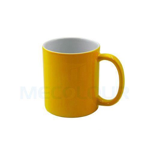Caneca Neon Amarela Resinada P/ Sublimação Aaa Mecolour