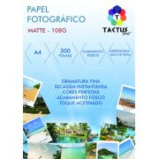 Papel Fotográfico Fosco (Matte) 108g 300 Folhas A4