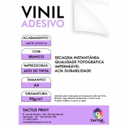 Vinil Adesivo Jato De Tinta Matte 90g 50 Folhas A4 - Branco