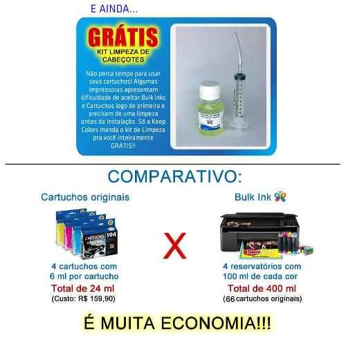 Bulk Ink Epson Tx420 Tx235 Tx320f Ecotank+4 Frascos De Tinta