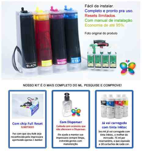 Bulk Ink Para Epson Xp214 Xp401 Xp204 + Tinta Pigmentada Inktec