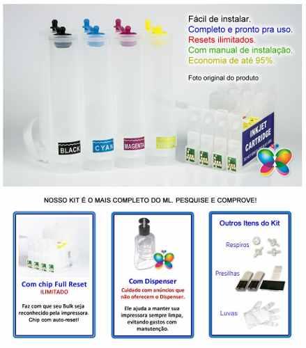 Bulk Ink Para Epson C63 Cx3500 Cx4500 + Kit Limpeza - Sem Tinta