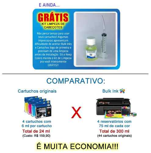 Bulk Ink Para Epson R200 R210 R220 R300 + Kit Limpeza - Sem Tinta