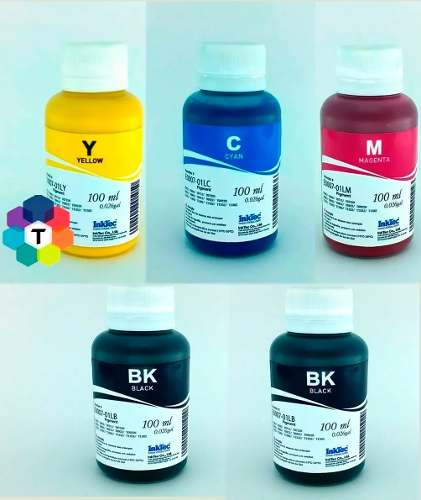 5 Frascos De 100 Ml - Tinta Pigmentada Inktec Epson - E0007