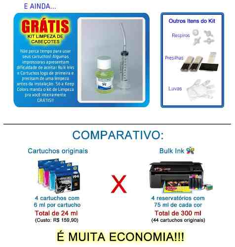 Bulk Ink Para Epson T50 T700w Tx720wd+ Kit Limpeza+ Tinta Inktec