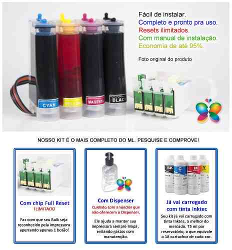 Bulk Ink Epson Tx200 Tx220 Tx400 + Kit Limpeza+ Tinta Inktec