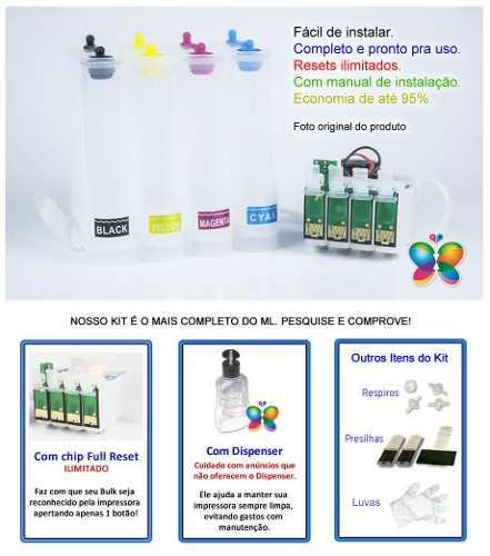 Bulk Ink Para Epson Tx420 Tx235 Tx320f + Kit Limpeza - Sem Tinta