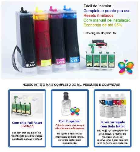 Bulk Ink Para Epson Tx420 Tx235 Tx320f + Tinta Pigmentada Inktec