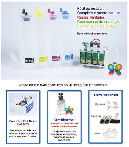 Bulk Ink Epson Xp214, Xp401, Xp204 + Kit Limpeza - Sem Tinta
