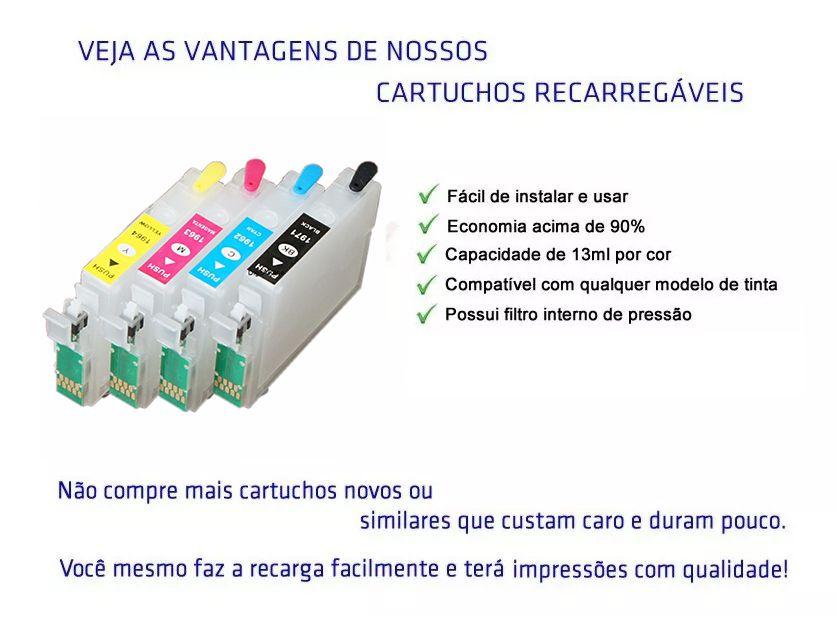 Cartucho Recarregável Epson Xp204 Xp214 Xp401 + 400ml Tinta