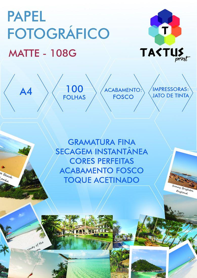 Papel Fotográfico Fosco (Matte) 108g 100 Folhas A4