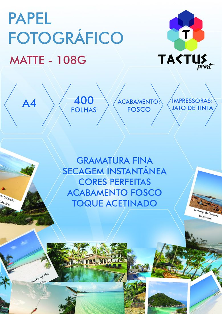 Papel Fotográfico Fosco (Matte) 108g 400 Folhas A4