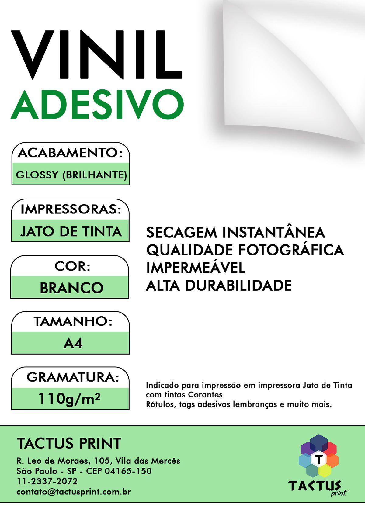 Vinil Adesivo Jato De Tinta Glossy  110g 100 Fls A4 - Branco