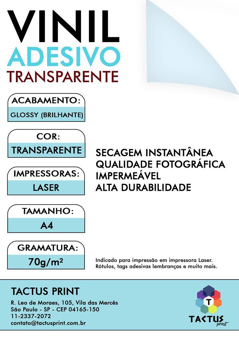 Vinil Adesivo Para Laser 70g - 250 fls A4 - Transparente