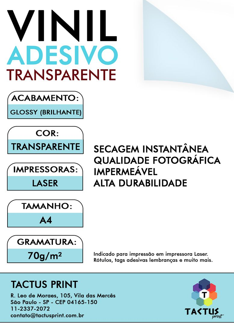 Vinil Adesivo Para Laser 70g - 500 fls A4 - Transparente