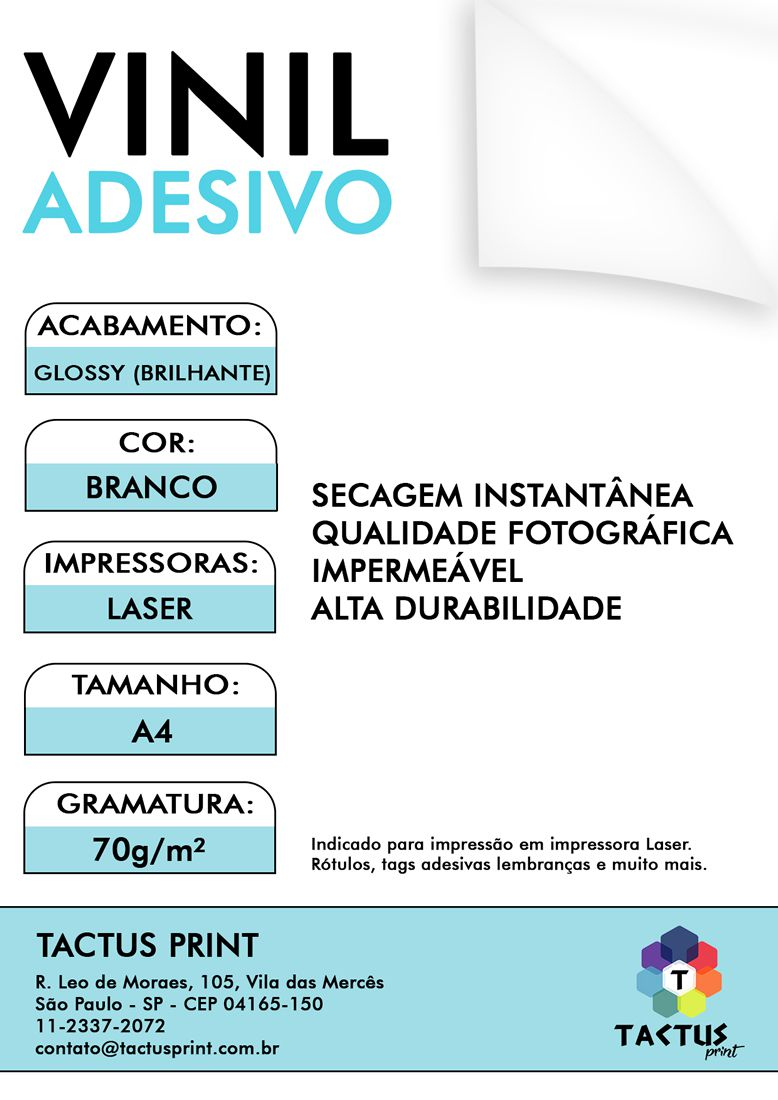 Vinil Adesivo Para Laser - Glossy  70g - 100 fls A4 - Branco