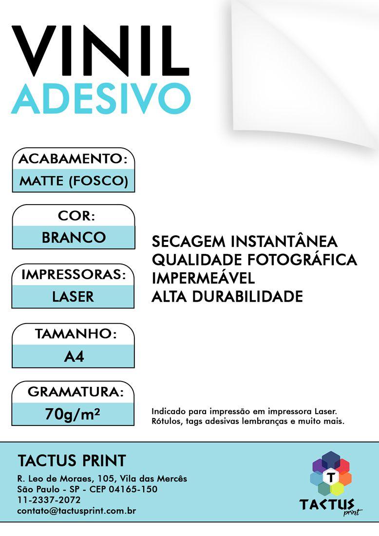 Vinil Adesivo Para Laser - Matte  70g - 25 fls A4 - Branco