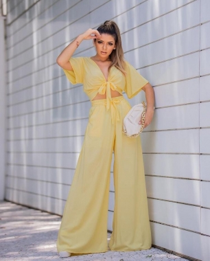 Calça Pantalona Amarelo