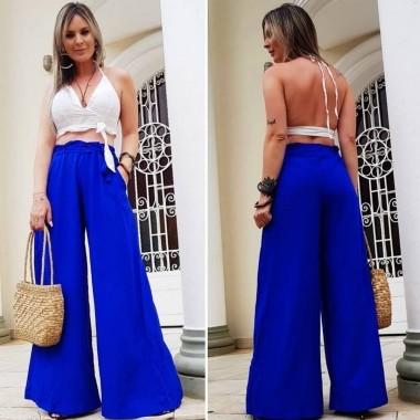Calça Pantalona Azul Bic