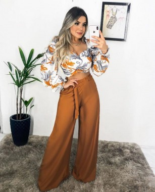 Calça Pantalona Mostarda
