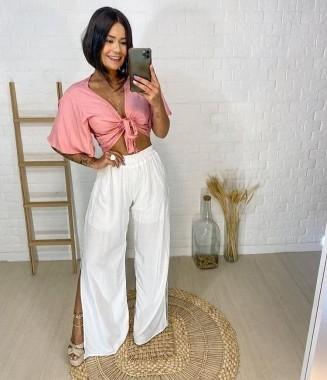 Calça Pantalona  Com Fenda Branca